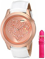 GUESS Women's U0528L1 Interchangeable Wardrobe Rose Gold-Tone Heart Watch Set with Genuine Leather Straps in White & Pink