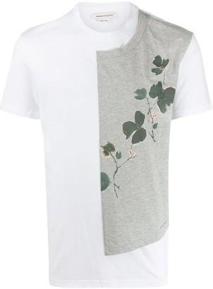 Alexander McQueen floral print panelled T-shirt