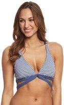 Splendid Malibu Stripe Halter Wrap Bikini Top (D Cup) 8143093