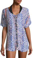 Gypsy 05 Tile-Print Lattice-Front Coverup Tunic