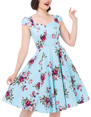HEARTS & ROSES LONDON Women's Cocktail Dresses Light - Light Blue Floral Cap-Sleeve Dress - Women