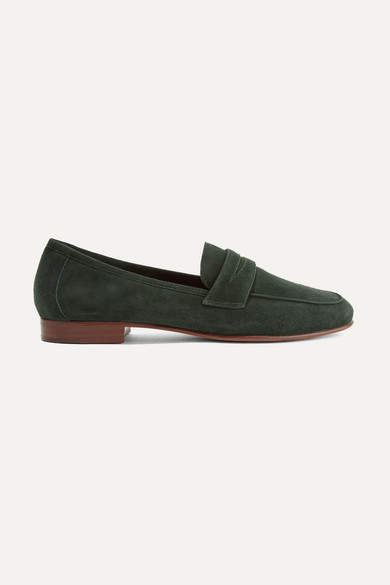 Mansur Gavriel Classic Suede Loafers - Emerald