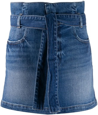 Frame Paperbag Waist Denim Skirt