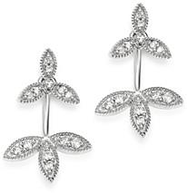 Adina Reyter Sterling Silver Diamond Double Flower Drop Earrings