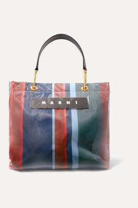 Marni Grip Medium Leather-trimmed Striped Canvas And Pvc Tote - Orange