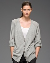 Rolled Sleeve Cardigan in Pewter