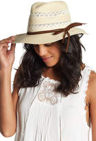 David & Young Straw Embroidered Lace and Suede Trim Fedora