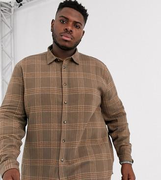 ASOS DESIGN Plus regular fit check overshirt in brown texture