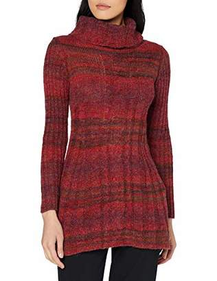 Joe Browns Womens Striped Longline Jumper with Cowl Neck Red
