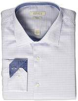 Perry Ellis Portfolio Men's Slim Fit Adjustable Collar Perf Mini Check Dress Shirt