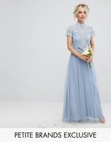 Maya Petite High Neck Cap Sleeve Embellished Maxi Dress