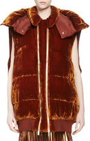 Stella McCartney Melissa Long Quilted Velvet Vest, Sienna