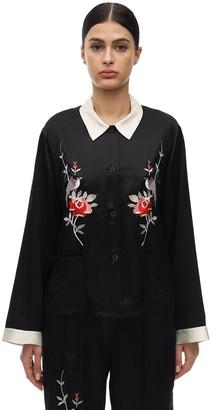 Morgan Lane Sawyer Embroidered Satin Pajama Shirt