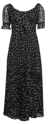 Dorothy Perkins Womens **Black Tie Front Pleated Midi Skater Dress, Black
