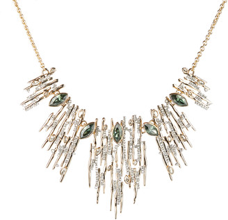 Alexis Bittar Navette Crystal Spiked Bib Necklace