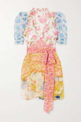 LoveShackFancy Arlo Belted Ruffled Patchwork Floral-print Silk-georgette Mini Dress - Yellow