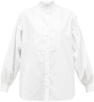 Etro Bib-front Balloon-sleeve Cotton Blouse - Womens - White