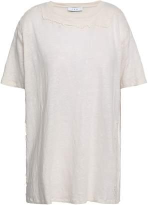 IRO Embroidered Slub Linen-jersey T-shirt