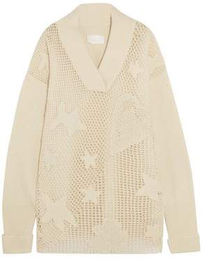 Maison Margiela Ribbed Open-knit Wool-blend Sweater