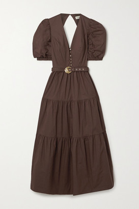 Nicholas Cecile Tiered Cotton-poplin Maxi Dress - Chocolate