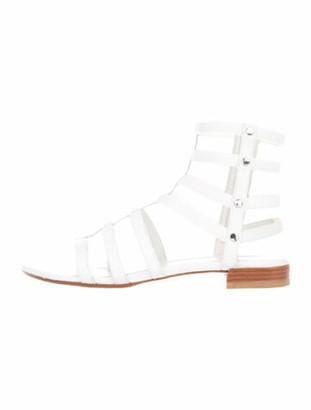 Stuart Weitzman Leather Cutout Accent Gladiator Sandals White