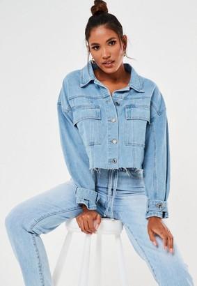 Missguided Blue Oversized Frayed Hem Cropped Denim Jacket