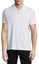 Vince Short-Sleeve Slub Knit Polo Shirt, White