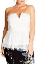 City Chic Plus Size Women's Deep V Strapless Lace Corset Top