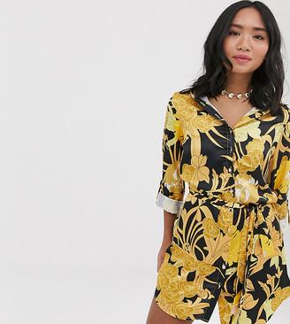 Parisian Petite shirt dress in art nouveau print-Multi