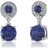 Ice 6 CT TGW Blue Sapphire Sterling Silver Dangle Earrings with CZ Accents