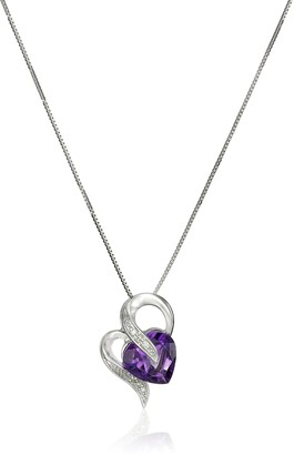 Amazon Collection 10k White Gold Amethyst and Diamond Accent Heart-Shape Pendant Necklace 18""