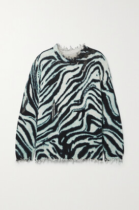 R13 - Oversized Distressed Zebra-print Cotton Sweater - Blue
