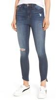 Women's Sp Black Angled Step Hem High Waist Skinny Jeans