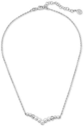 """Majorica Sterling Silver Imitation Pearl & Crystal Pendant Necklace, 15"""" + 2"""" extender"""