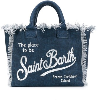 MC2 Saint Barth Logo-Print Denim Beach Bag