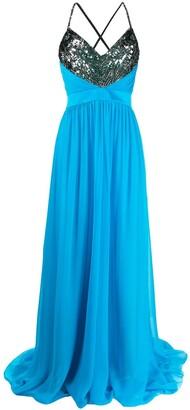 Emilio Pucci sequinned neckline long dress