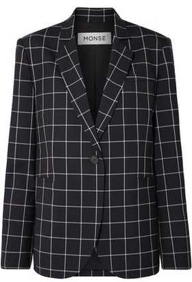 Monse Lace-up Checked Wool-crepe Blazer