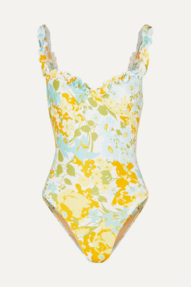 Faithfull The Brand Hilda Ruffled Floral-print Underwired Swimsuit - Blue