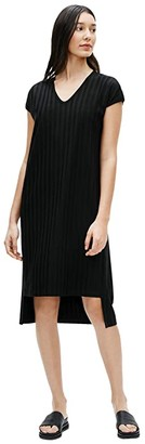 Eileen Fisher V-Neck High-Low Dress (Black) Women's Dress