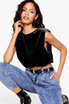 Nasty Gal Womens Stay in Touch Velvet Shoulder Pad Top - Black
