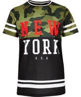 River Island Boys khaki camo mesh T-shirt