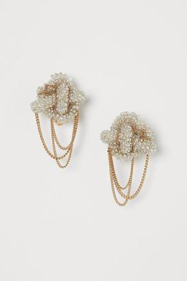 H&M Glass-bead clip earrings