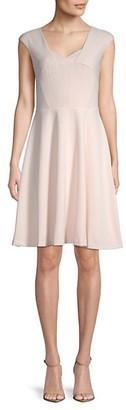 Calvin Klein Cap-Sleeve Fit--Flare Dress