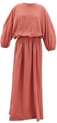 ALBUS LUMEN Licentia Draped Cotton Maxi Dress - Pink