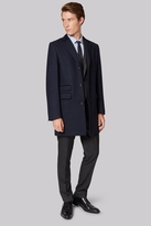 Moss Bros Slim Fit Navy Twill overcoat