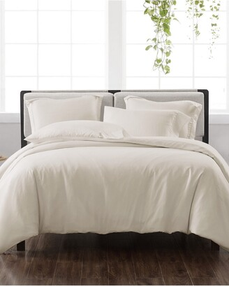 Cannon Solid Ivory 3Pc Duvet Cover Set