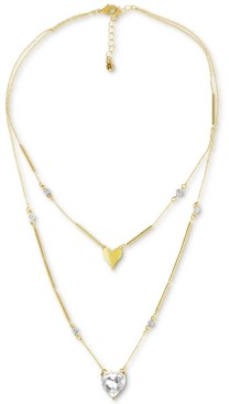 "Rachel Roy Gold-Tone Crystal Heart Layered Pendant Necklace, 16"" + 3"" extender"