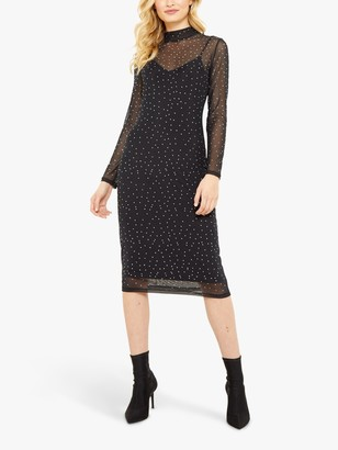 Sosandar Mesh Spot Midi Dress, Black