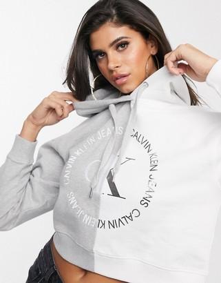 Calvin Klein Jeans cropped block logo hoodie