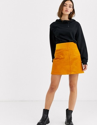 Monki cord a-line mini skirt in mustard yellow